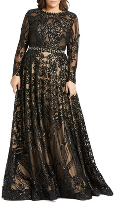 Mac Duggal Sequin Burnout Long Sleeve Ballgown