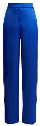 Peter Pilotto Side Striped Satin Trousers - Womens - Blue