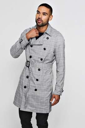 BoohooMAN Check Double Breasted Smart Trench