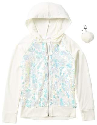 Beautees Sequin Front Zip Hoodie & Keychain (Big Girls)