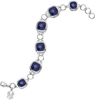 New York Yankees Logoart LogoArt Legend Silver Tone Navy Glass Logo Charm Bracelet
