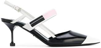 Prada Black White Logo 65 leather slingbacks