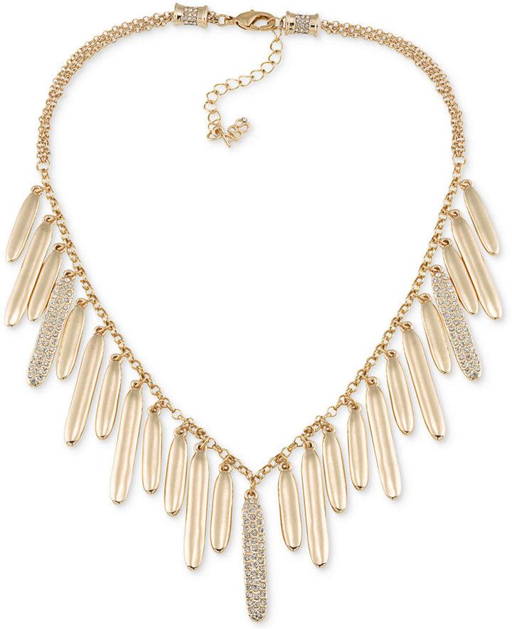 ABS By Allen SchwartzABS by Allen Schwartz Gold-Tone Crystal Large Fringe Collar Necklace