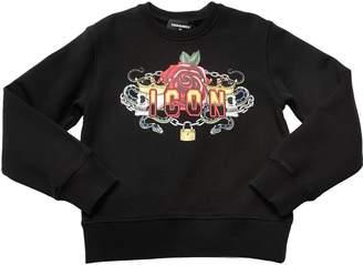 DSQUARED2 Skulls & Rose Printed Cotton Sweatshirt