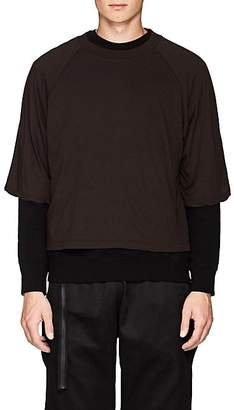 Taverniti So Ben Unravel Project BEN UNRAVEL PROJECT MEN'S LAYERED COTTON JERSEY & FLEECE SWEATSHIRT - DK. BROWN SIZE S