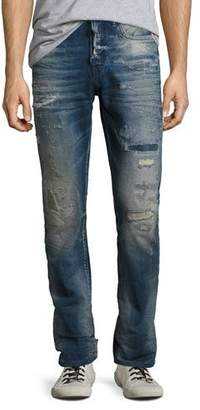 PRPS Demon Distressed Denim Slim-Straight Jeans, Lawn (Medium Blue)