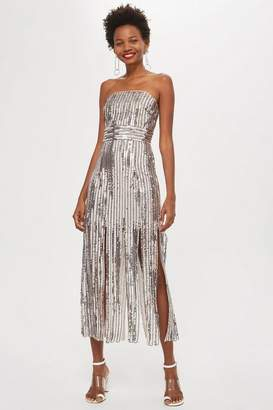 Topshop Womens **Sequin Fringe Bandeau Dress