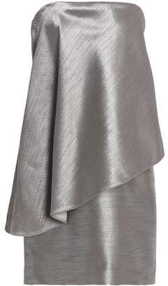 Halston Strapless Layered Metallic Jacquard Mini Dress