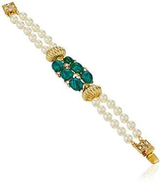 Swarovski Ben-Amun Jewelry Golden Era Crystal Cluster Pearl Strand Bracelet for Bridal Wedding Anniversary