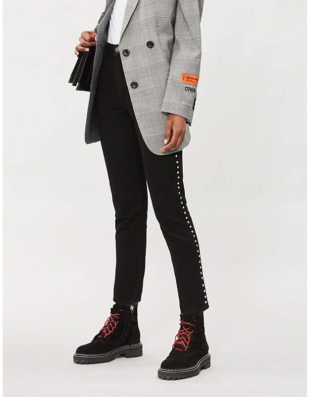 Rhinestone-trim skinny high-rise jeans