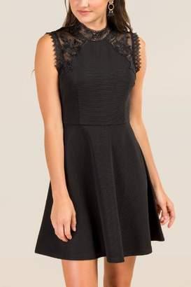 francesca's Marlie Crochet Lace Jacquard A-line Dress - Black