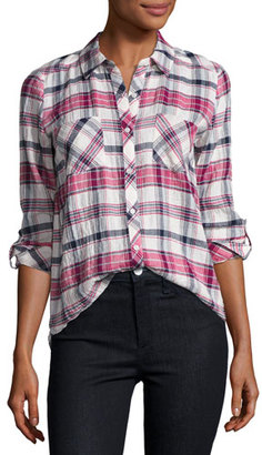 Soft Joie Lilya Plaid Button-Front Shirt, White/Red/Black $158 thestylecure.com