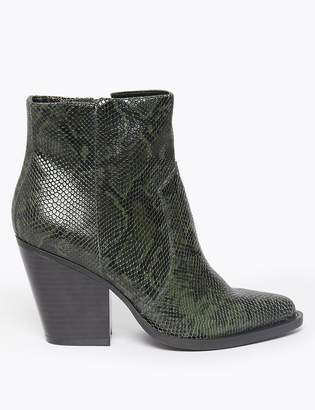 Marks and Spencer Leather Snakeskin Print Western Ankle Boots
