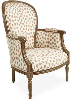 Joe Ruggiero Collection Germaine Chair - Café Polka Dot Sunbrella