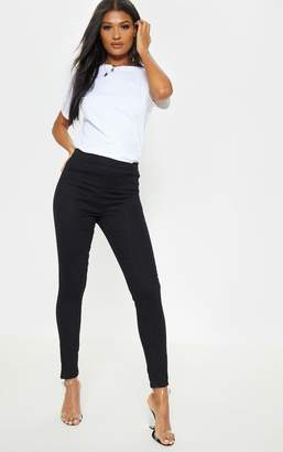 PrettyLittleThing Black Panel Front Stitch Skinny Jeans