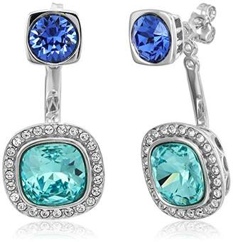 Swarovski Platinum-Plated Crystal Crystal Cushion Halo and Round in Cushion 2-Way Earrings Jacket
