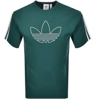 adidas Trefoil Outline T Shirt Green