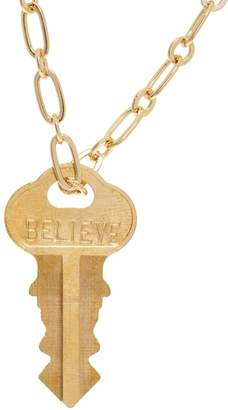 "The Giving Keys Goldtone 'BELIEVE' Key Pendant w/ 30"" Dainty Chain"