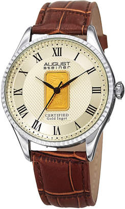 August Steiner Men's Gold Ingot Textured Dial Watch, 41mm