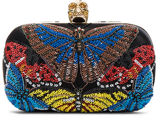 Alexander McQueen Butterfly Skull Clutch with Chain $2,595 thestylecure.com