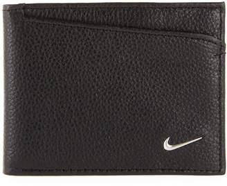 Nike Men's Pebbled Leather Pass Case Wallet, Black