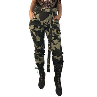 JSPOYOU Womens Camo Cargo Trousers Casual Pants Military Army Combat Camouflage Pants