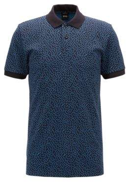 BOSS Hugo Slim-fit polo shirt Anni-Albers-inspired pattern L Open Blue