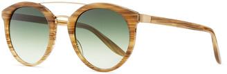Barton Perreira Dalziel Round Sunglasses with Metal Bar, Horn