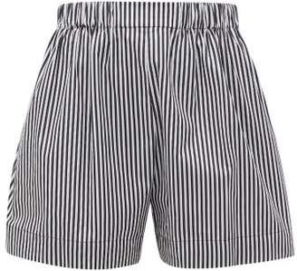 Hillier Bartley Logo Embroidered Striped Cotton Poplin Shorts - Womens - Black White