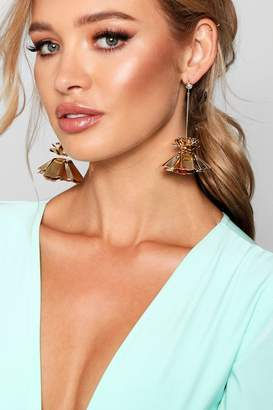 boohoo Lily Statement Metal Floral Drop Earrings