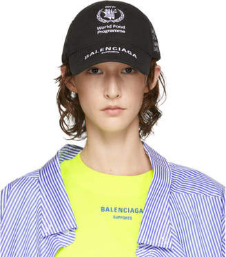 Balenciaga Black World Food Programme Embroidered Cap