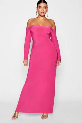 boohoo Plus Bardot Slinky Maxi Dress