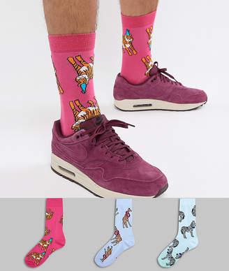 Asos DESIGN socks with fun party animal prints 3 pack