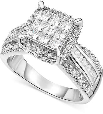 Macy's Diamond Cluster Engagement Ring (1 ct. t.w.) in 14k White Gold