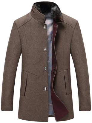 Domple Men's Winter Stand Collar Single breasted Wool-Blend Long Jacket Coat L