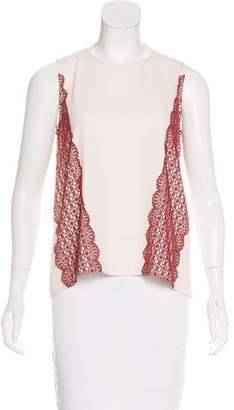 Tanya Taylor Sleeveless Lace-Accented Top