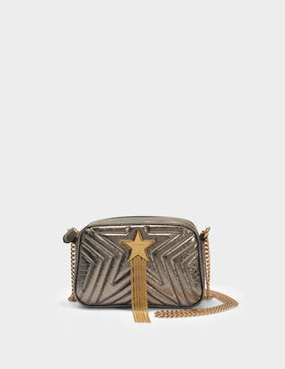Stella McCartney Stella Star Mini Shoulder Bag in Khaki Polyamide, Polyurethane and Polyester