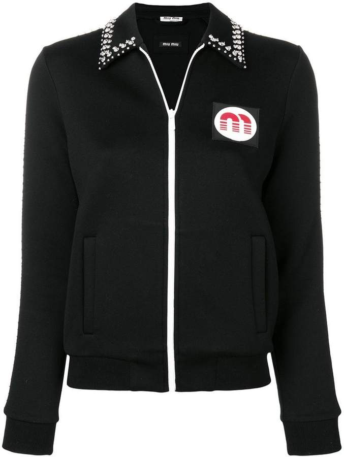 crystal embellished logo patch jacket