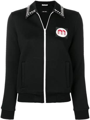 crystal embellished logo patch jacket