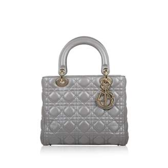 Christian Dior Lady Silver Leather Handbags