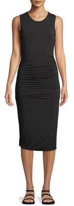 Halston Ruched-Side Sleeveless Jersey Dress