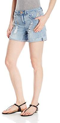 Democracy Women's Feather Emb. Cuffed Short