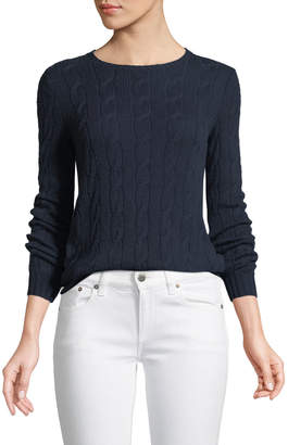 Ralph Lauren Long-Sleeve Crewneck Cable-Knit Cashmere Sweater