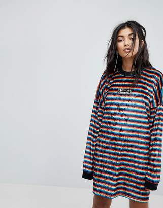 Almost Famous The Ragged Priest Rainbow Velvet Dress