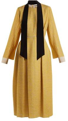 Fendi Abito Pop high-neck chevron silk-blend midi dress