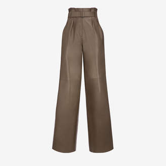 Bally Leather Wide Leg Belted Trosuers Grey, Women's lamb nappa trousers in snuff