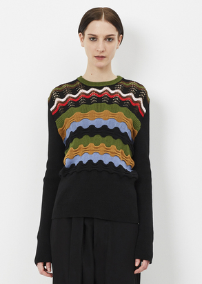 Marni black long sleeve wavy striped sweater