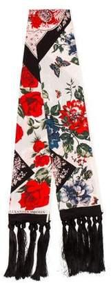 Alexander McQueen Floral Fringe Shawl