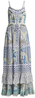 Camilla Salvador Summer Tiered Maxi Dress - Womens - Blue Multi