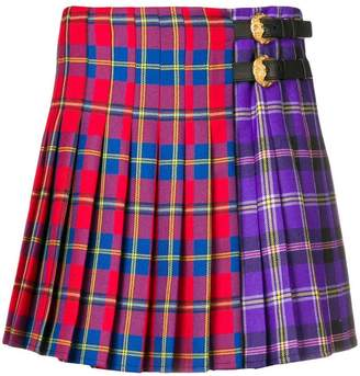 Versace two-tone tartan skirt